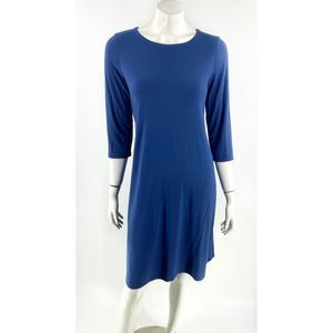 Eileen Fisher Dress Sz S Blue Solid Stretch Womens